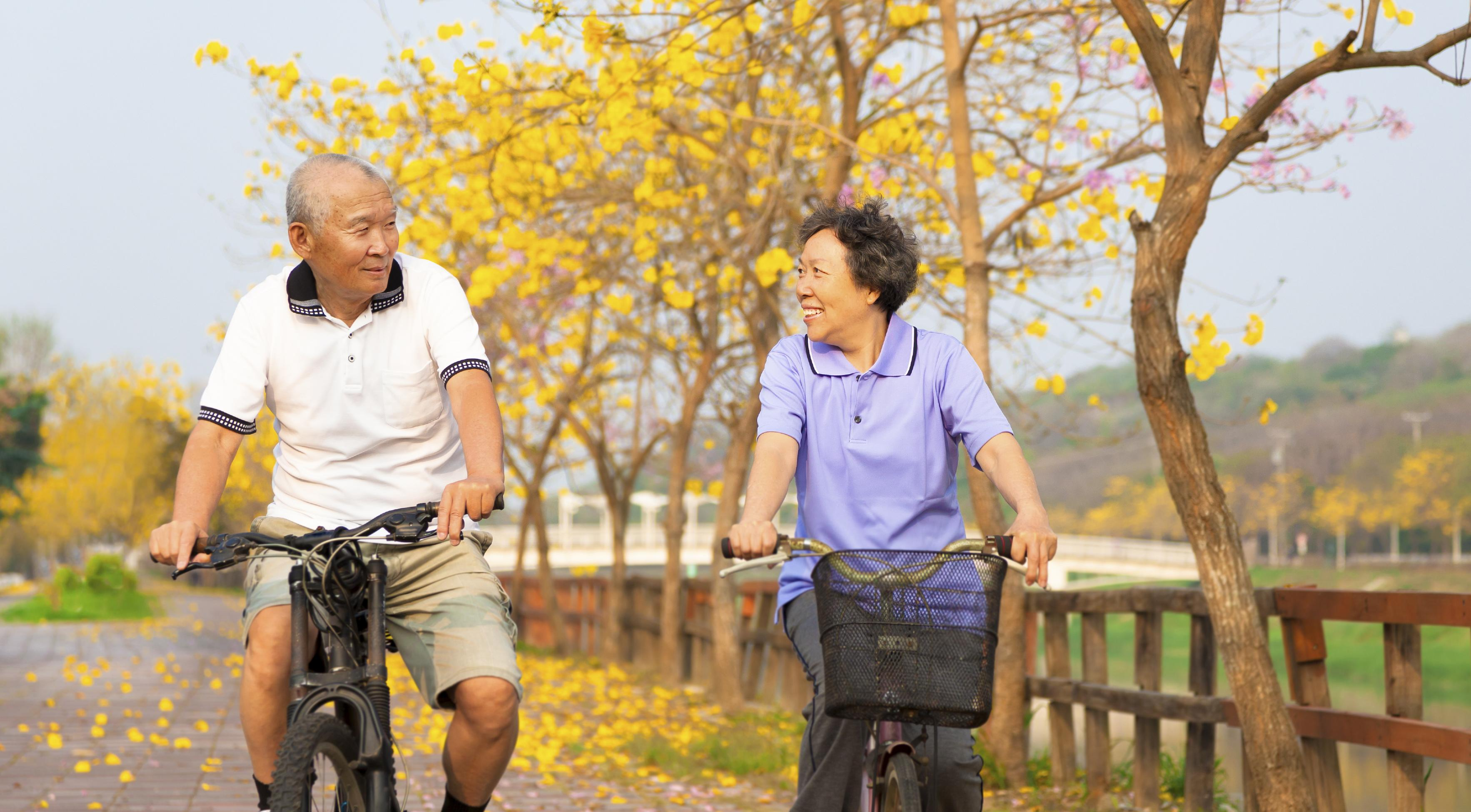 Retired couple riding bicycles .