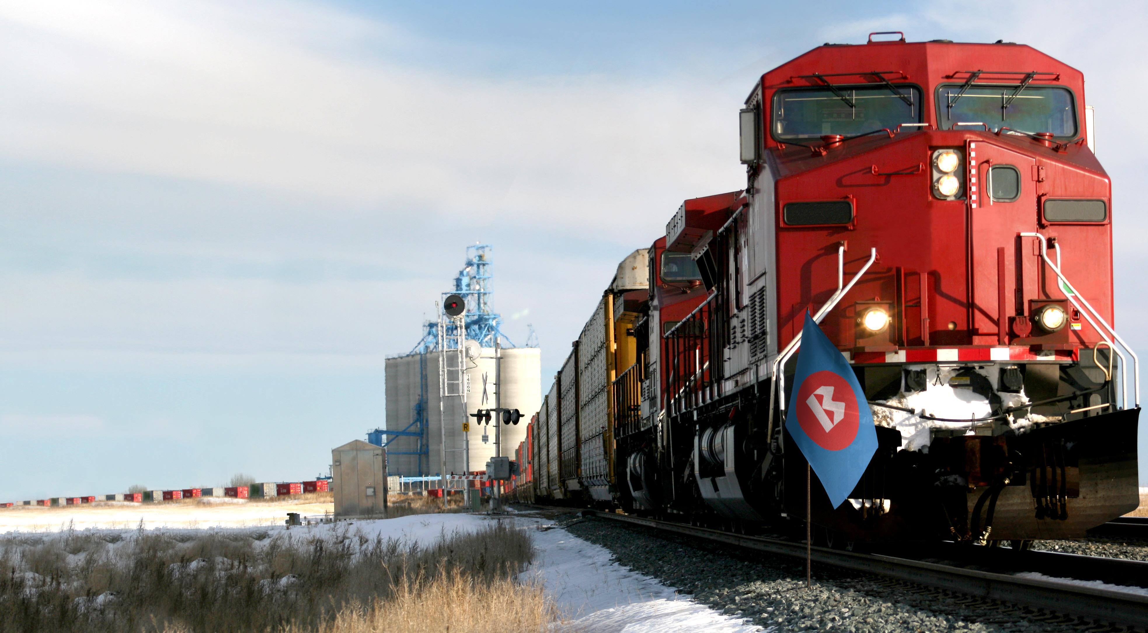 Train bringing goods from Canada to the United States.