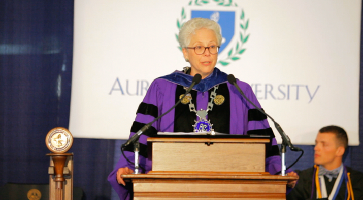 Dr. Rebecca Sherrick is the 13th President of Aurora University (AU).